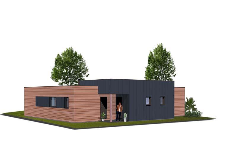 Plan maison ossature bois plain pied maison moderne for Maison plain pied ossature bois